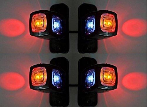 4x Seitliche Umrandung Dreifach-Funktion Marker Leuchten 24V 12V Anhänger Van Truck Caravan Chassis Reisemobil Wohnmobil orange weiß rot
