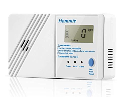 Hommie EU 10 Jahre Kohlenmonoxidmelder mit Digitaler Display und Prüftaste, Batteriebetrieben CO Melder, Prüftaste, Weiß