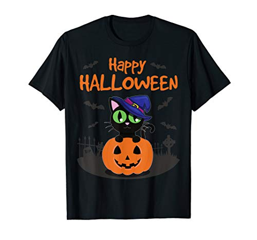 Kostüm Kürbis Katze - Happy Halloween Katze in Kürbis mit Hexenhut   Kostüm Party T-Shirt