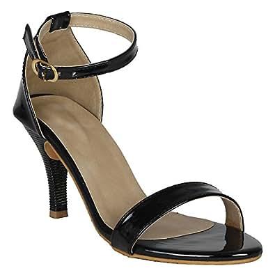 Vagon Women's Black Synthetic Leather Fashion Sandal -36