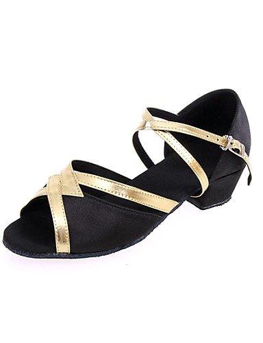 La mode moderne Sandales Femmes et enfants personnalisables Non' en cuir chaussures de danse latine talons Talon en cuir noir or rouge débutant US6.5-7 / EU37 / UK4.5-5 / CN37