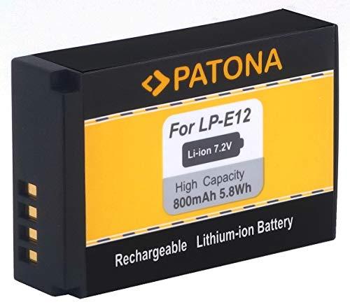 PATONA - Ersatz für Akku Canon LP-E12 zu EOS M M10 M50 M100 100D PowerShot SX70 HS 1a Power Supply Kit