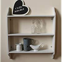 Three tier shelf, pale grey, lightly distressed finish, 6 sizes available