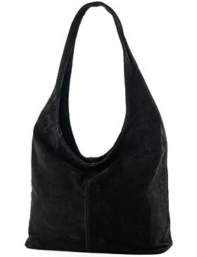 modamoda de - ital. Ledertasche Umhängetasche Schultertasche Damentasche Wildleder T150