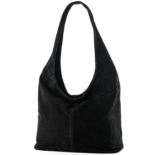 Modamoda de - ital Sac à bandoulière en cuir Sac à bandoulière Damentasche Wildleder T150, Color:black