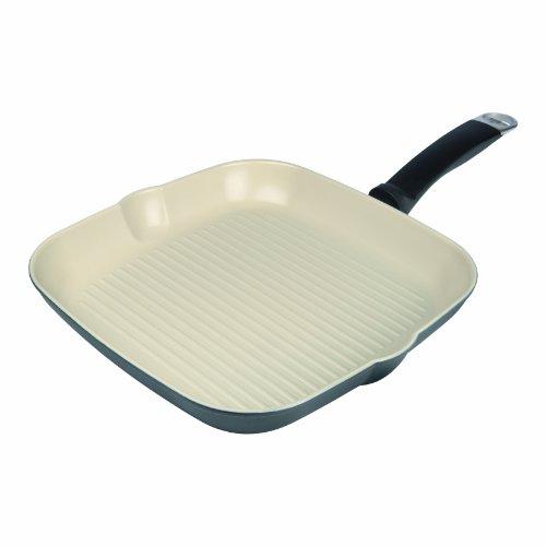 KUHN RIKON 31305 Pfanne Ceramic Induction Bratpfanne Grillpfanne viereckig 28 x 28 cm keramische Beschichtung induktionsgeeignet bis auf 450 Grad erhitzbar ideal für Fleischgerichte