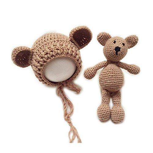 Neugeborene Baby Fotografie Requisiten Boy Girl Crochet Kostüm Outfits Hat Bär Set