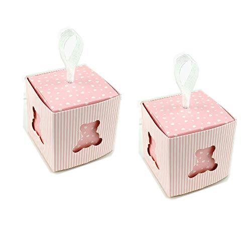 C.x.y. 50 scatola cubo portaconfetti orsetto cuore cartoncino la finestra bomboniera nascita battesimo ideale regalo (rosa)
