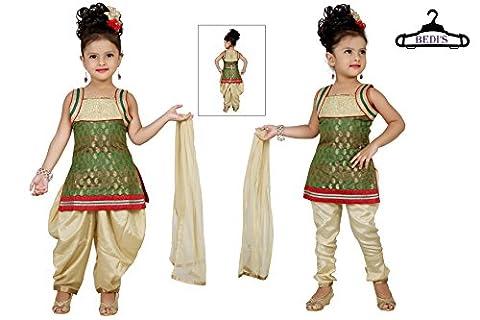 Baby Girl Salwar Suit New Born Infant Frock Suit Churidar Dress Wedding Prom Partywear + Leggings Toddler Ethnic Traditional Dupatta Suit - GREEN & BEIGE/GOLD (BGWC-507G-16)