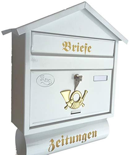 Naturholz-Schreinermeister Großer Briefkasten/Postkasten XXL Weiß mit Zeitungsrolle Zeitungsfach Spitzdach Zeitungsrohr