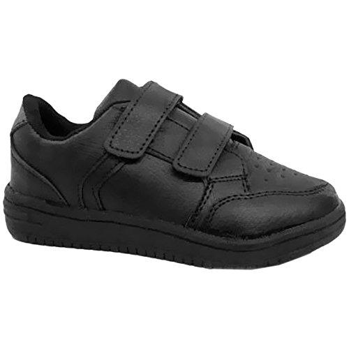 Scarpe per bambini, da scuola/matrimonio, casual/formale, chiusura in velcro, i in pelle sintetica Black / Double Velcro Trainer