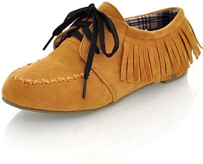 njx/Hug Damen Schuhe Kunstleder Flach Ferse rund Oxford Casual Schwarz/Braun/Gelb/Rot/Grau/Gold