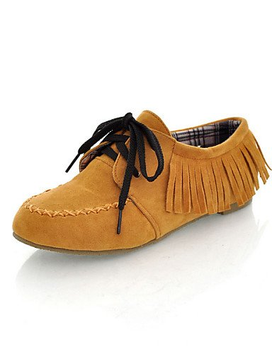ZQ hug Scarpe Donna - Stringate - Casual - Punta arrotondata - Piatto - Finta pelle - Nero / Marrone / Giallo / Rosso / Grigio / Dorato , golden-us8 / eu39 / uk6 / cn39 , golden-us8 / eu39 / uk6 / cn3 brown-us7.5 / eu38 / uk5.5 / cn38