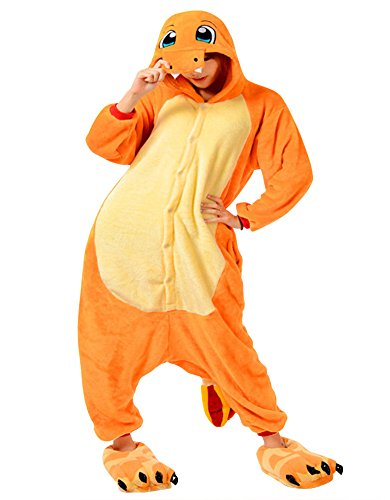 Moollyfox Adulte Unisexe Anime Animal Costume Cosplay Combinaison Pyjama Outfit Nuit Vêtements Onesie Fleece Halloween Costume Soirée de Déguisement Orange1