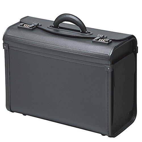 Pilotenkoffer Koffer Schwarz Kunstleder Zahlenschloß Mit Seitentaschen