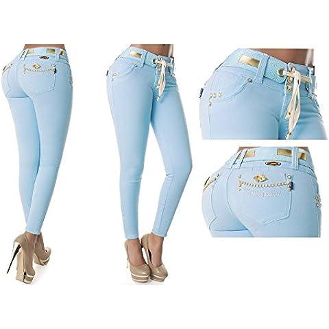 Vaqueros Azul Clarito Jeans Wonder / Push Up Súper Pitillo Skinny Jeans Efecto Wonder Colombiano 100% Levanta Glúteos Pantalon