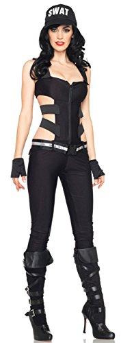 Outfit Räuber Sexy (Aimerfeel sexy weibliche Polizistin Abendkleid in alle in einem schwarzen Overall. Größe S)