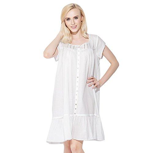 Jinyufeng Donne Camicia da Notte Elegante Collo Square è Senza Maniche Bianco DK6018 (L/XL)