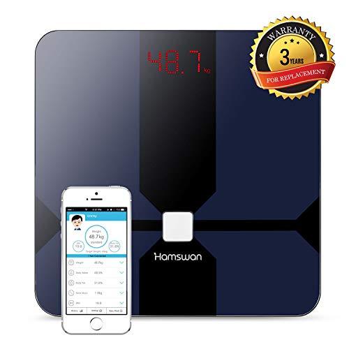 Báscula Grasa Corporal, [Regalos de Navidad] HAMSWAN Báscula de Baño Inteligente, Analizar Más de 12 Datos, Medidora Composición Bluetooth Para Móviles Andriod y iOS, Escalalizador Inteligente