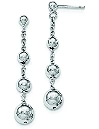 Sterling Silver Polished Beaded Post Dangle Earrings