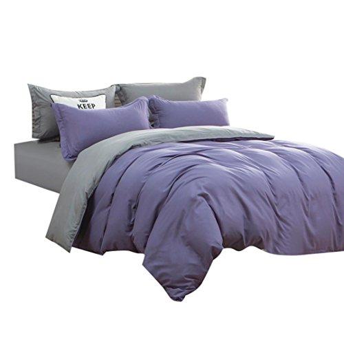 Drap de lit + Housse de couette + taies,Reaso Couleurs solides Linge de maison Drap plat Home Textile Ensemble de literie (King, Violet)