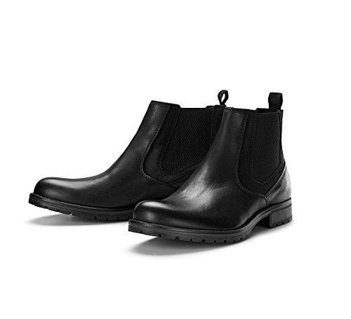 JACK & JONES Herren Chelsea Boots Stiefeletten Echtleder Stiefel Herrenschuhe (43 EU, Anthracite)