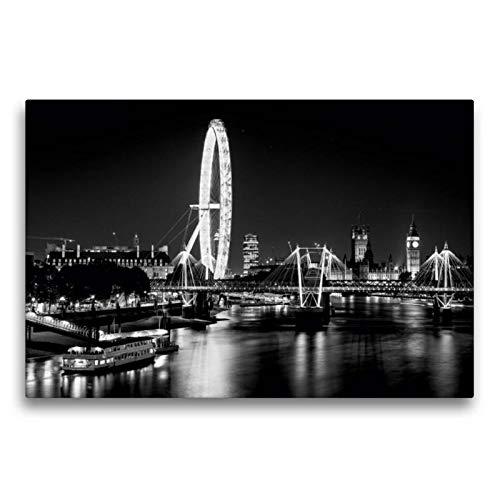 Calvendo Premium Textil-Leinwand 75 cm x 50 cm quer, London Eye bei Nacht   Wandbild, Bild auf Keilrahmen, Fertigbild auf echter Leinwand, Leinwanddruck Orte Orte
