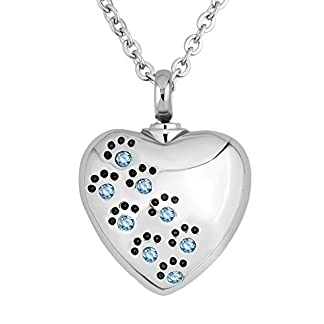 Korliya Heart Love Pet Paw Prints Urn Necklace For Ashes Memorial Keepsake Pendant Cremation Jewellery 19