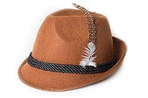 Partychimp, Sombrero de Plumas para Hombre, Marrón, Talla única (Trachtenhut Deluxe)