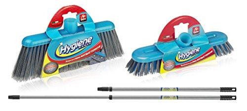 Set igienizzante per la pulizia della casa: 2 manici + scopa e spazzolone in fibre antibatteriche.