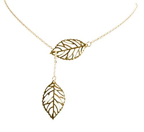 Damen Halskette Gold Blatt Anhänger Doppel Kette Collier Vintage Geralin Gioielli