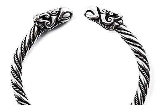 Windalf Vintage Frauen Wikinger Armreif Odins Raben Ø 5.5 cm Hugin & Munin Viking Armschmuck Asatru Ethno Design Handarbeit 925 Sterlingsilber