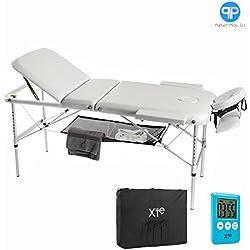 Camilla de masaje, 3 zonas, de aluminio, portátil y reclinable, con temporizador y toallero incluidos, color blanco