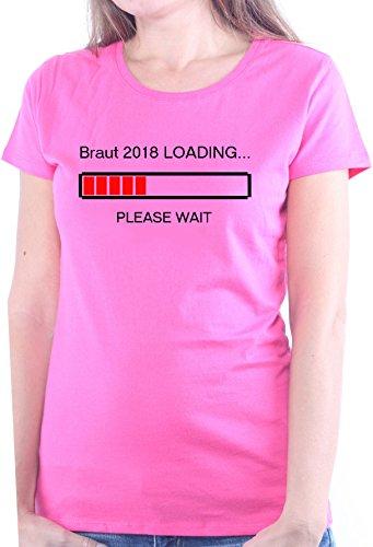 Mister Merchandise Ladies Damen Frauen T-Shirt Braut 2018 Loading Frau Verlobung Tee Mädchen Bedruckt Pink, M -