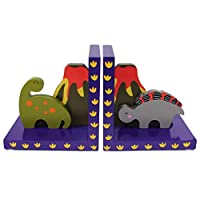 Tinkie Toys Handcrafted Wooden Dinosaur Bookends for Boys Girls Bookshelf, Nursery or Bedroom