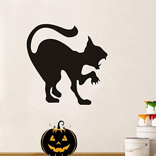 Scary Black Cat Halloween Party Aufkleber Moderne Wandaufkleber Für Kinderzimmer Wohnzimmer Wohnkultur Wasserdicht Zubehör Wall5959cm (Spielen Scary Partys Auf Zu Halloween-spiele)