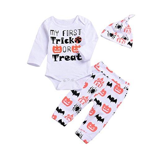 h Kleinkind Säugling Baby Mädchen Beiläufig Blumen Drucken Kleider Set Lange Ärmel Tops + Hose + Stirnband Outfits 6-24 Monat (Weiß_C, 6M) ()