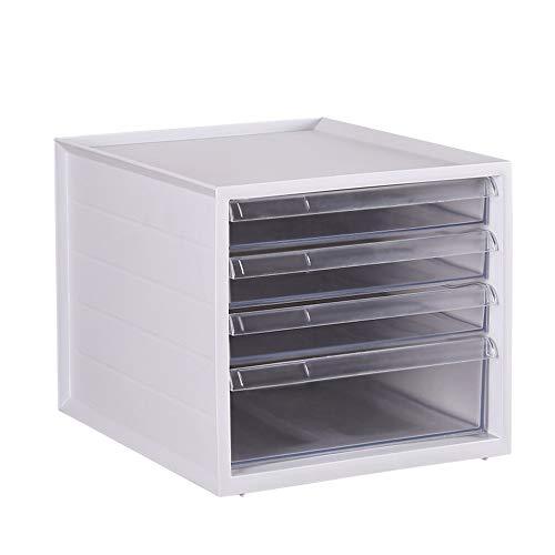 Xyanzi Storage Office Cabinet, Zeitgenössische Tabletop Shelf Rack Kunststoff Organizer Mit Klaren Schubladen Einfache Bedienung Fach & Schublade Für Home & Office Verwenden (Klar Shelf Organizer)
