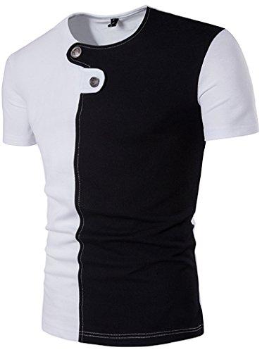 Whatlees Herren Urban Kontrast Design Langes T-shirt mit abgenähtem Design B575-White