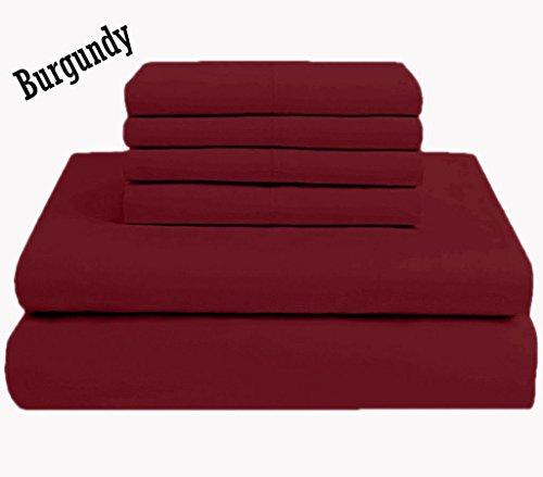 JF Bedding Jose Farmer Bettwäsche Hotelqualität Fadenzahl 1000100% ägyptische Baumwolle Ultra Soft 4Stück Bed Sheet Set Fitt bis 38,1cm Deep Pocket Set (California-King, Burgund, Massiv) (20-zoll-pocket-king-blatt)