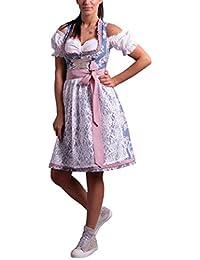 Golden Trachten-Kleid Dirndl Damen 3 TLG, Midi für Oktoberfest, mit Schürze und Bluse Fernblau geblümt 536GT