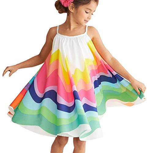 Obestseller Kleider für Mädchen Sommer Kleinkind Baby Mädchen ärmellose Regenbogen Print Kleid Weste Kleider Kleidung Partykleider Casualkleider Minikleid