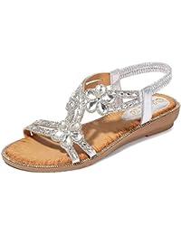 Zapatos Amazon Bajas Essandalias Rxoeqbwdce 42 Para Plateadas Mujer CoedxWrB