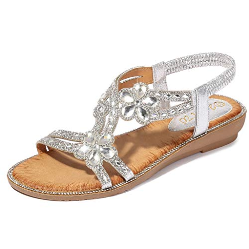 Sandalen Damen ABsoar Böhmen Freizeitschuhe Sommer Kristall Flachen Sandalen Frauen Bling Blumen Strand Schuhe Anti Rutsch Wanderschuhe