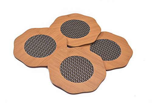 Yellow Weaves 4 Piece Bamboo Coasters Or Pan Pot Holder Heat Insulation...