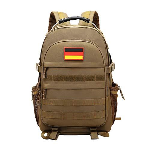 JOTHIN Taktischer Rucksack Herren Sport Backpack Outdoor Tagesrucksack Wasserdicht Armyrucksack Oxford-Tuch Rucksäcke mit USB für Survival Militär (40L)(Brown) Wasserdichte Oxford