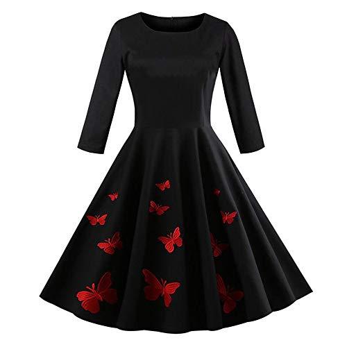 Longra Damen Elegant Audrey Hepburn Kleid mit Schmetterlingsdruck Abendkleid Partykleider Cocktailkleid Damen 50s Retro Vintage Rockabilly Kleid...