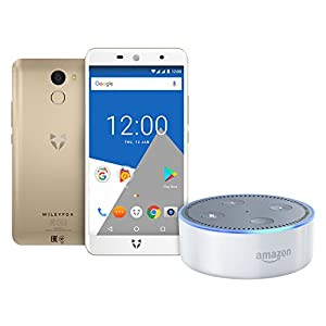 Wileyfox Swift 2 X, Gold Dual SIM Smartphone with Amazon Echo Dot (2nd Generation), White