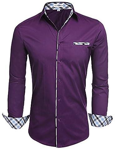 HOTOUCH Men's Dress Shirts Big and Tall Purple XXL