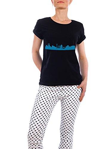 """Design T-Shirt Frauen Earth Positive """"YOKOHAMA 05 Skyline Print monochrome Teal"""" - stylisches Shirt Abstrakt Städte Städte / Weitere Architektur von 44spaces Schwarz"""